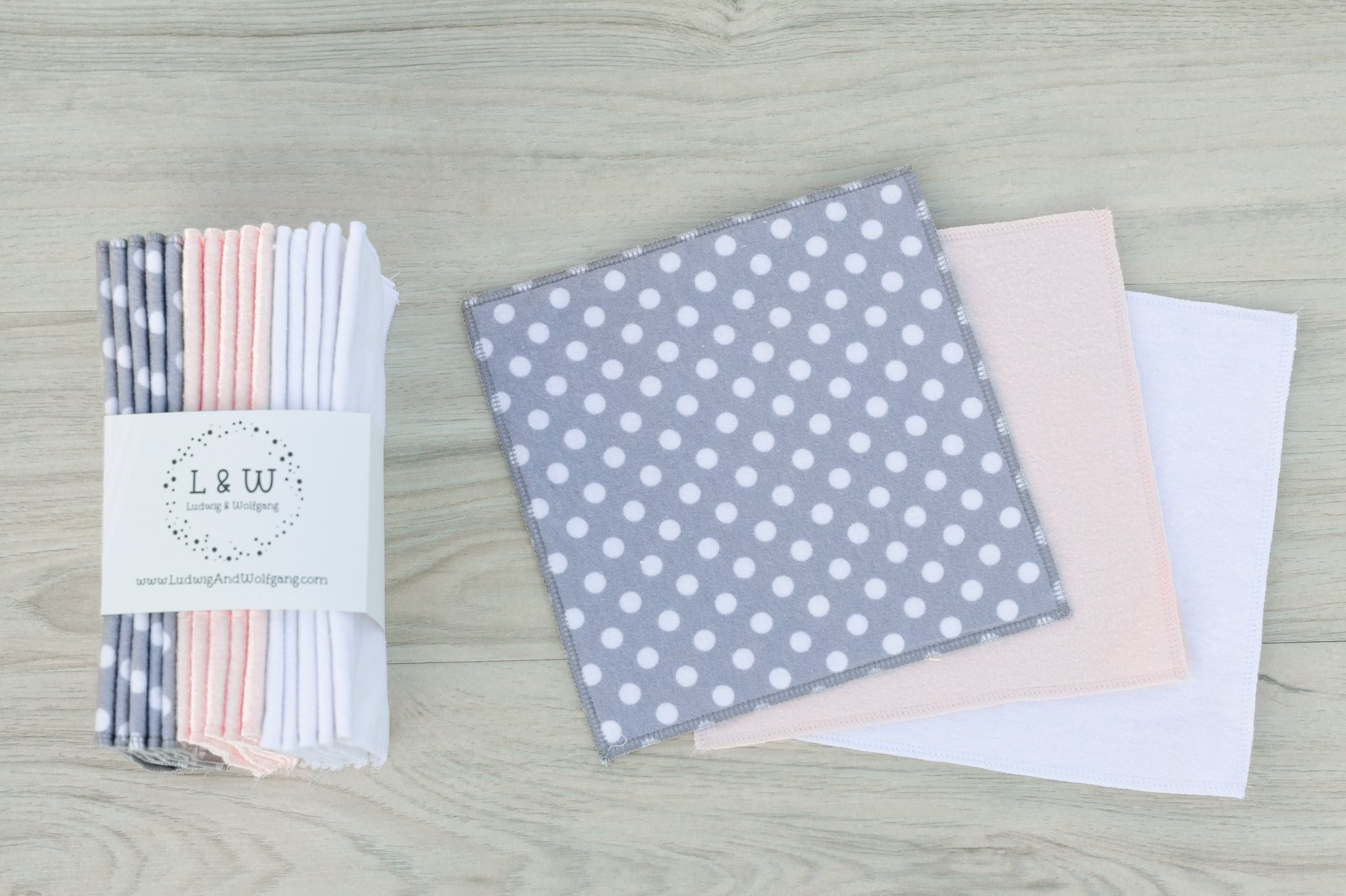 Bundle of Wipes (5 ea. 2-Ply, Gray Polka Dot, Pink & White Flannel)